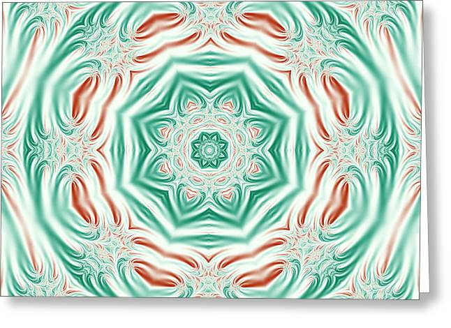 Geometric Artwork Greeting Cards - Pastel Christmas Fractal Mandala Greeting Card by Marv Vandehey
