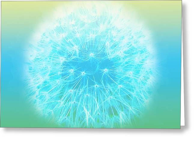 Pastel Dandelion Greeting Card by Diane Parnell
