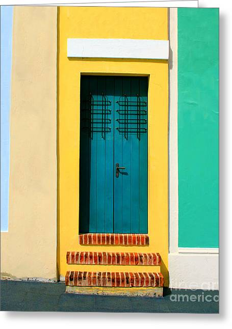 Old San Juan Greeting Cards - Pastel Doorway Greeting Card by Perry Webster