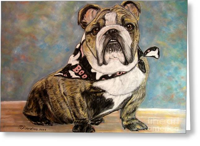 Breed Pastels Greeting Cards - Pastel English Brindle Bull Dog Greeting Card by Patricia L Davidson