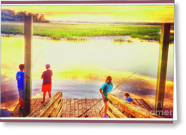 Fish Digital Greeting Cards - Pastel fishermen Greeting Card by Cindy Piper