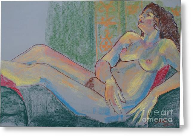 Life Drawing Pastels Greeting Cards - Pastel Nude Greeting Card by Joanne Claxton