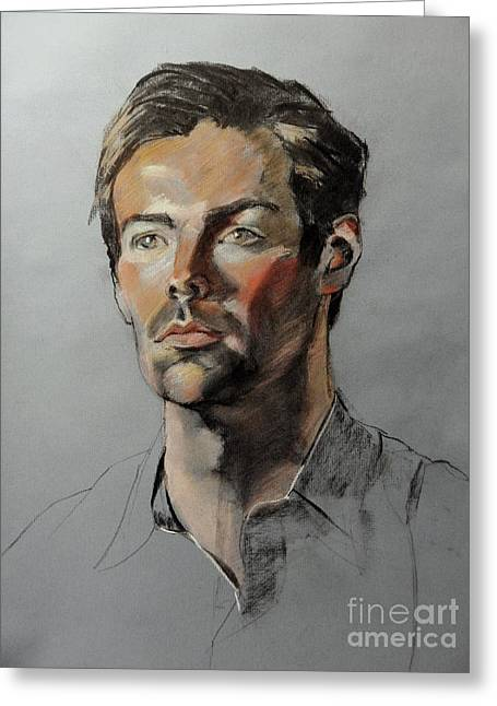 Pastel Portrait Of Handsome Guy Greeting Card by Greta Corens