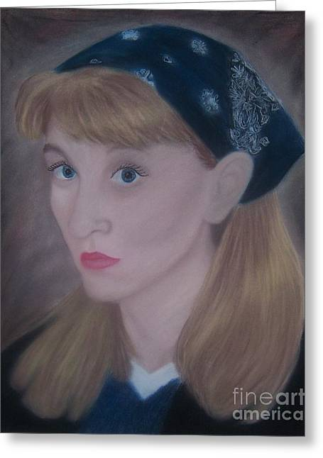 Self Portrait Pastels Greeting Cards - Pastel Self Portrait Greeting Card by Emily Young