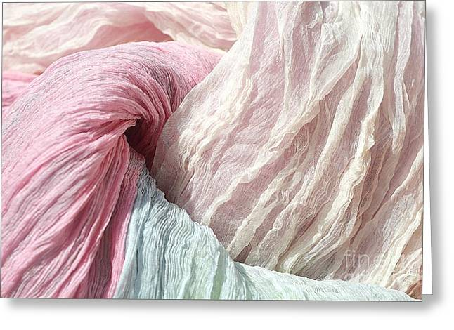 Textile Photographs Greeting Cards - Pastel Veils Greeting Card by Alexandra Lavizzari