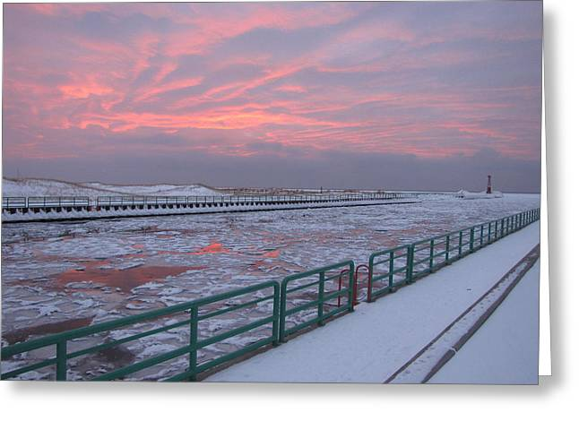 Recently Sold -  - Reflections Of Sky In Water Greeting Cards - Pastels of Winter in Pentwater Greeting Card by Jane Greiner