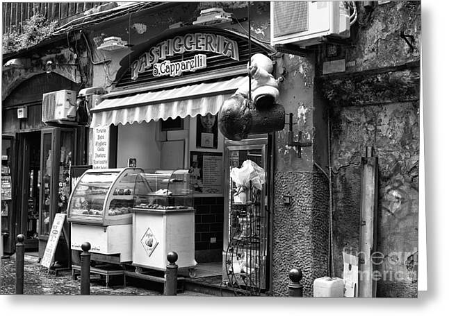 Old Street Greeting Cards - Pasticceria Greeting Card by John Rizzuto