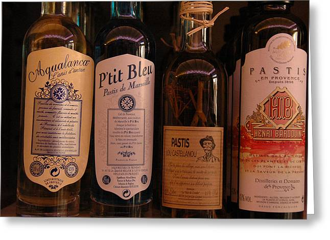 Pastis Greeting Cards - Pastis Bottles  France Greeting Card by Dan Albright