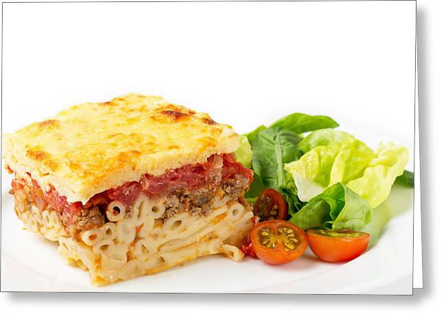Pastitsio And Salad Side View Greeting Card by Paul Cowan
