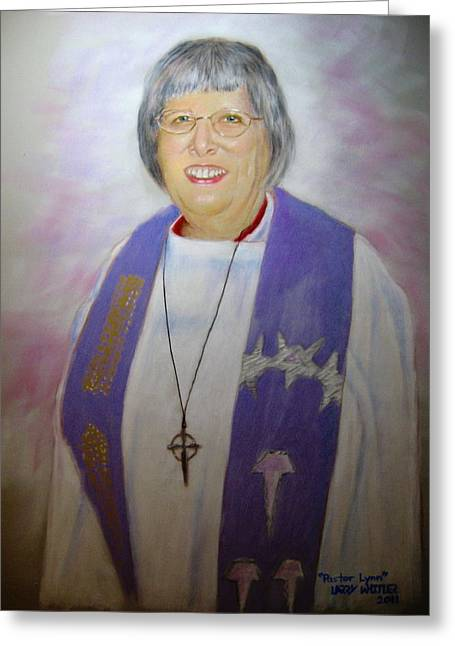 Leaders Pastels Greeting Cards - Pastor Lynn Greeting Card by Larry Whitler