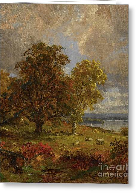 Francis Drawings Greeting Cards - Pastoral Seaside Landscape Greeting Card by Jasper Francis Cropsey