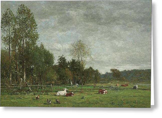 Pasture Near Honfleur Greeting Card by Eugene Louis Boudin
