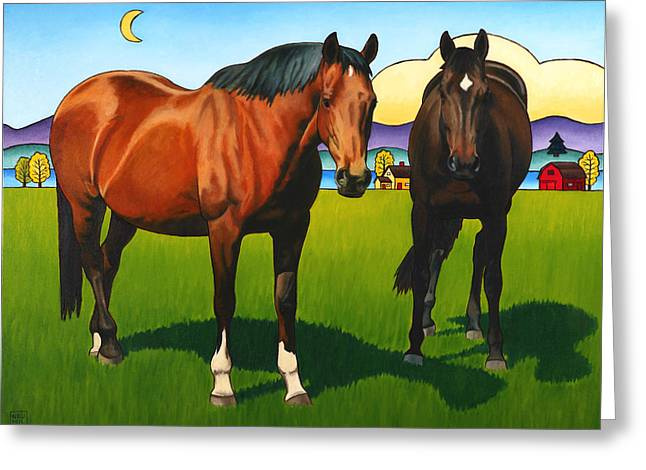 Horse Barn Greeting Cards - Pasture Pals Greeting Card by Stacey Neumiller