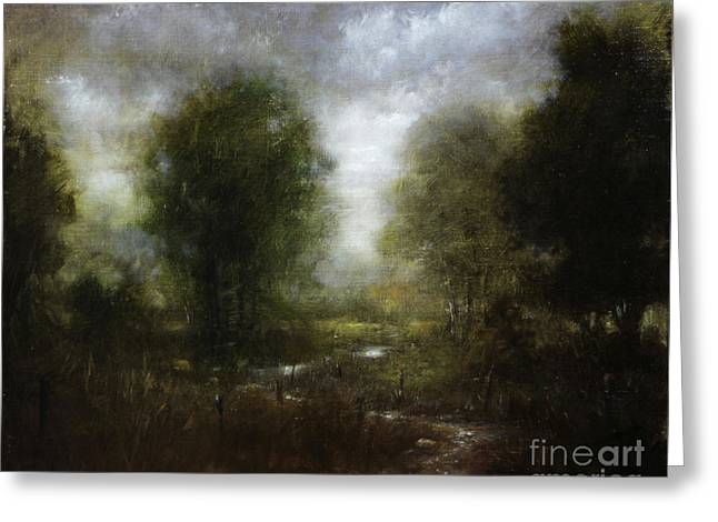 Stream Greeting Cards - PASTURE STREAM no.3 Greeting Card by Larry Preston