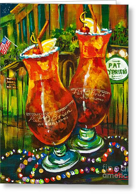 Alcohol Greeting Cards - Pat O Briens Hurricanes Greeting Card by Dianne Parks