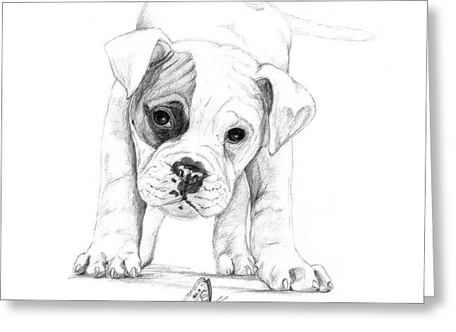 Boxer Drawings Greeting Cards - Patch A Boxer Puppy Greeting Card by Stacey May