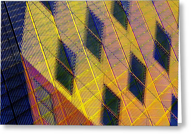 Patchwork Architecture IIi Greeting Card by KM Corcoran