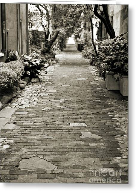 Brick Streets Greeting Cards - Patchwork Pathway in Sepia AKA Philadelphia Alley Greeting Card by Dustin K Ryan