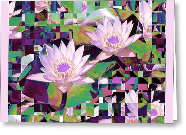 Water Lilly Greeting Cards - Patchwork Quilt Greeting Card by Karen Lewis
