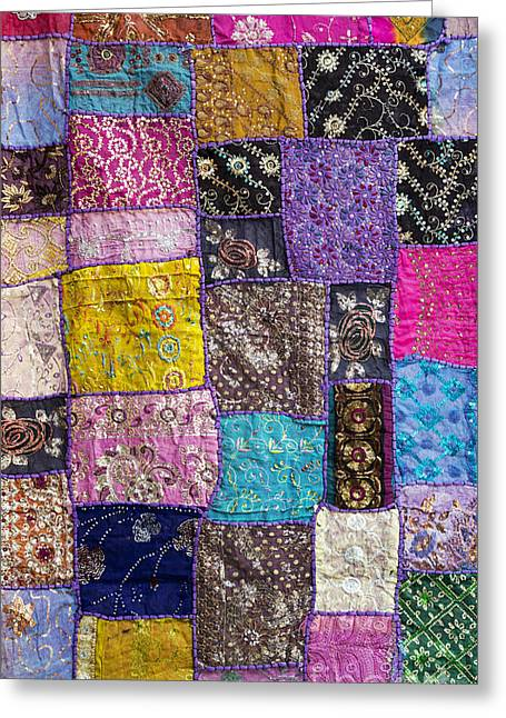 Gold Cloth Greeting Cards - Patchwork Greeting Card by Tim Gainey