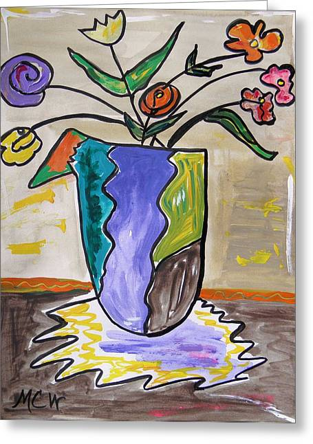 Patchwork Vase Greeting Card by Mary Carol Williams