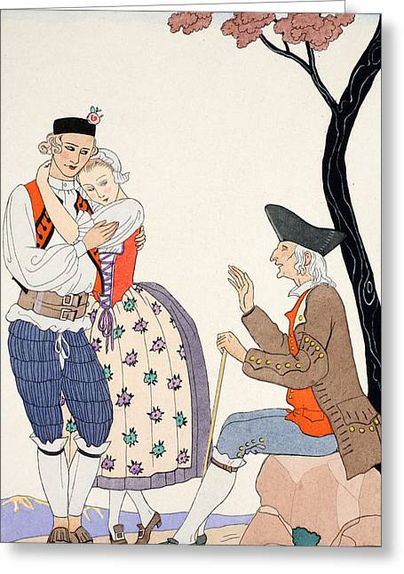 Sit-ins Drawings Greeting Cards - Paternal Blessing  Greeting Card by Georges Barbier