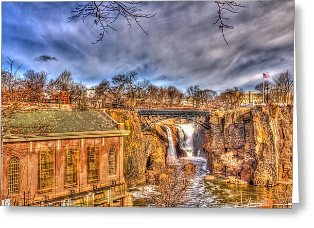 Textile Photographs Greeting Cards - Paterson Falls Great Falls Greeting Card by Geraldine Scull