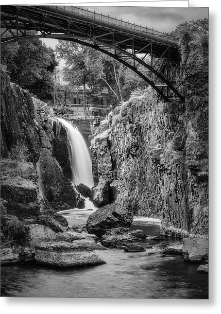 """""""great Falls"""" Greeting Cards - Paterson Great Falls III BW Greeting Card by Susan Candelario"""