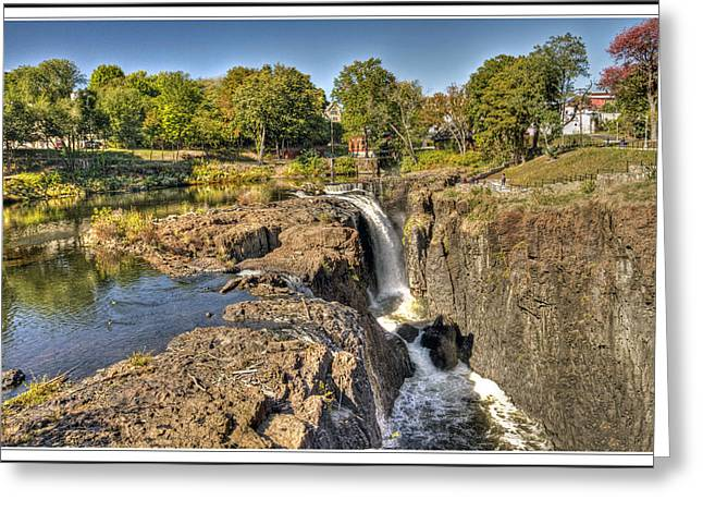 Textile Photographs Digital Greeting Cards - Paterson Water Falls Black and White Greeting Card by Geraldine Scull