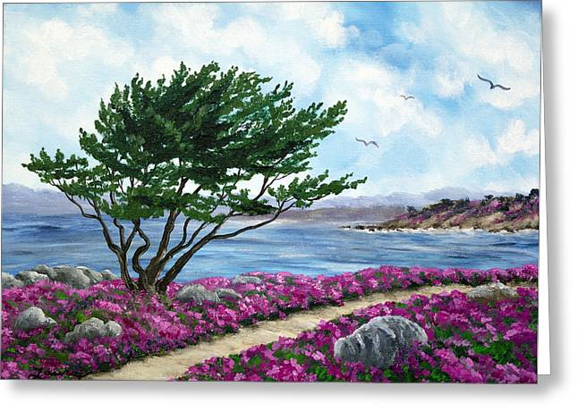 Monterey Greeting Cards - Path by a Cypress Tree in May Greeting Card by Laura Iverson