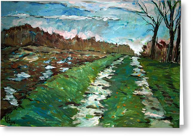 Pull Greeting Cards - Path Greeting Card by Charlie Spear