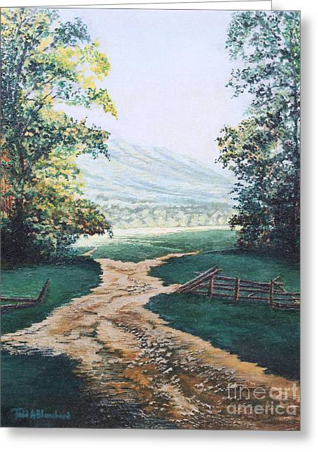 Tn Paintings Greeting Cards - Path from the Cabin Greeting Card by Todd A Blanchard