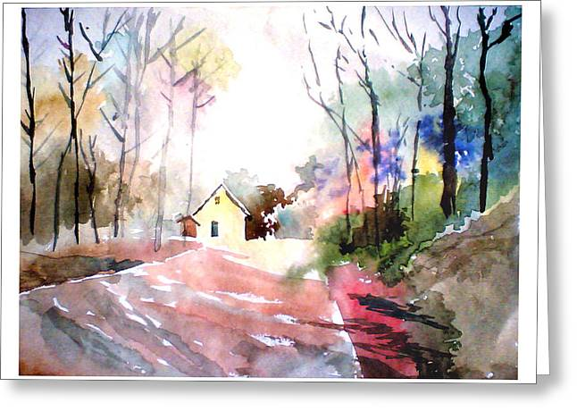 Anil Nene Greeting Cards - Path in colors Greeting Card by Anil Nene