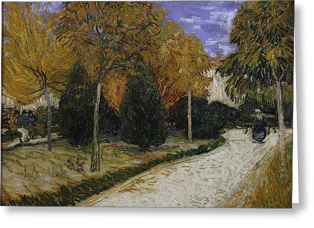 Arles Paintings Greeting Cards - Path in the Park at Arles Greeting Card by Vincent Van Gogh