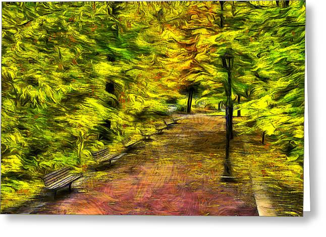 Waterfronts Greeting Cards - Path through Fall Greeting Card by Mark Kiver