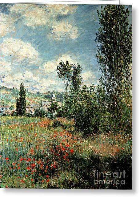 Flowers Photographs Greeting Cards - Path through the Poppies Greeting Card by Claude Monet