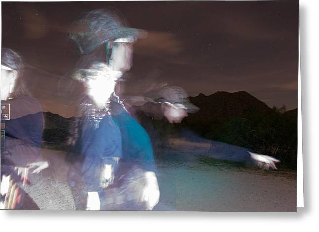 Runner Greeting Cards - Path to Freedom a Light Painting  Greeting Card by Carolina Liechtenstein