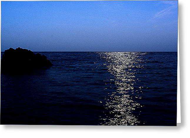 Sea Moon Full Moon Greeting Cards - Path To Happiness Greeting Card by Sylwia Gac