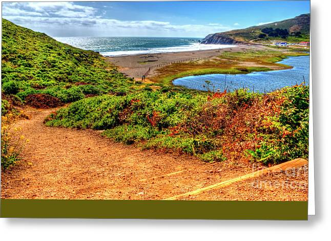 Marin County Greeting Cards - Path To Rodeo Beach Greeting Card by Paul Gillham