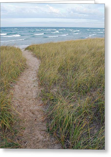 Lake Michigan Greeting Cards - Path to the Beach Greeting Card by Twenty Two North Photography