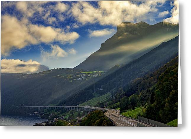Swiss Photographs Greeting Cards - Path to the Clouds Greeting Card by Liran Eisenberg