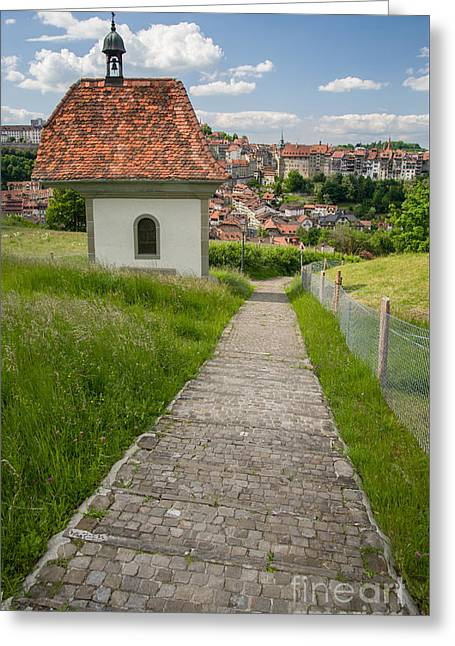 Swiss Photographs Greeting Cards - Path to the town Greeting Card by Ning Mosberger-Tang