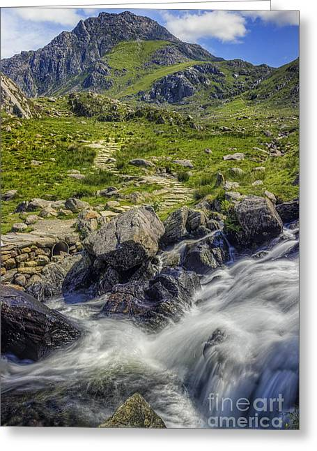 Park Scene Greeting Cards - Path To Tryfan Greeting Card by Ian Mitchell