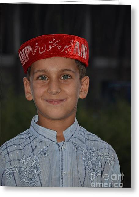 Rally Greeting Cards - Pathan boy at political rally in Swat Valley Pakistan Greeting Card by Imran Ahmed