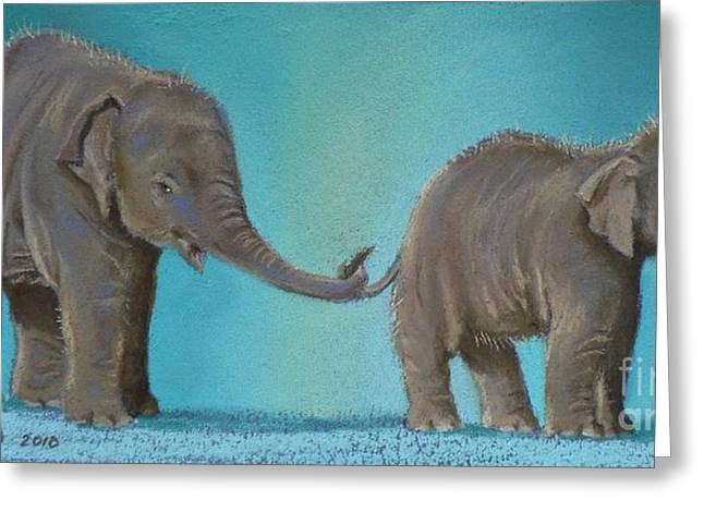 Elephant Pastels Greeting Cards - Pathi Harns Tail Greeting Card by Louise Green