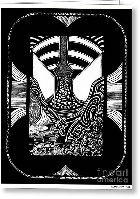 Surreal Landscape Drawings Greeting Cards - Pathway One Greeting Card by Charles Pulley