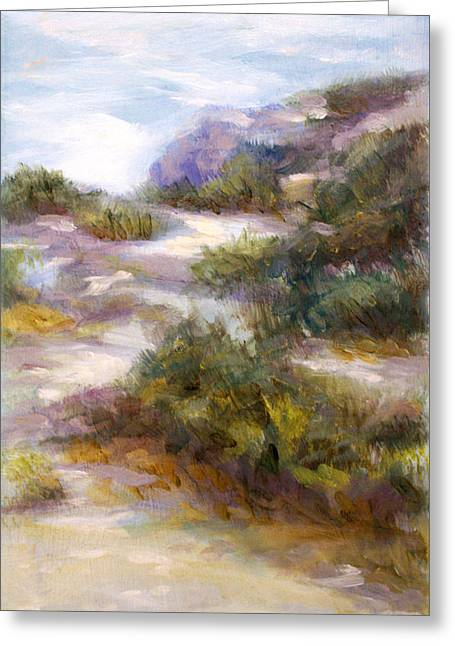 Sandy Beaches Drawings Greeting Cards - Pathway to the Shore Greeting Card by Laura Ury