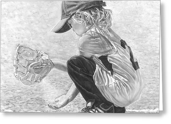Baseball Uniform Greeting Cards - Patience Greeting Card by Beloved Portraits Patti Bradeis