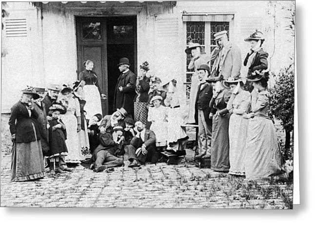 Entrance Door Greeting Cards - Patients Wait To See Dentist Greeting Card by Underwood Archives