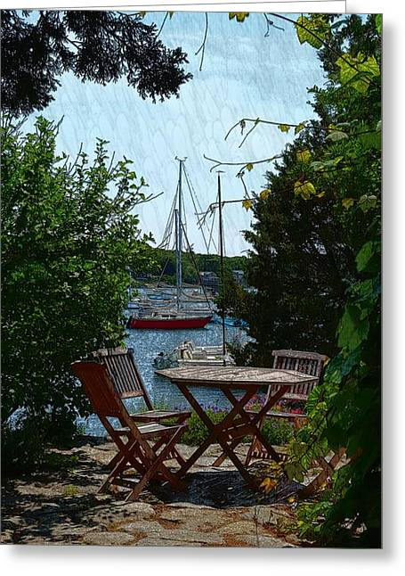 Patio Dining Greeting Card by Harriet Harding